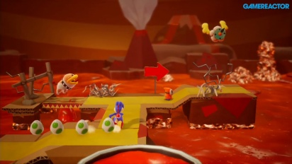 Yoshi's Crafted World - Gameplay sous la lave